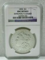1898 MORGAN SILVER DOLLAR $1 NGC UNC DETAILS IMPROPERLY CLEANED