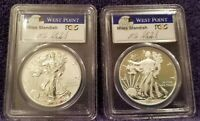 2013-W AMERICAN SILVER EAGLE WEST POINT 2 COIN SET  GRADED BY PCGS SIGNED,
