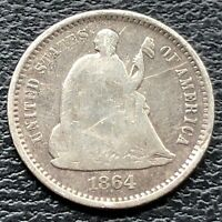 1864 S SEATED LIBERTY HALF DIME 5C CIRCULATED  REVERSE 25641