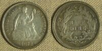 SEATED HALF DIME: 1872 EXTRA FINE  SLIGHTLY ROUGH SURFACE