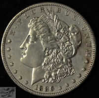1886 S MORGAN DOLLAR, ALMOST UNCIRCULATED DETAILS, CLEANED, SILVER DOLLAR, C4724