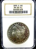 1890-S MORGAN DOLLAR NGC MINT STATE 64 PL PROOF LIKE GRADED- BETTER DATE COIN ..