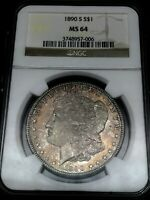 1890-S MORGAN DOLLAR NGC MINT STATE 64  GRADED- GORGEOUS PINKISH TONING COIN.