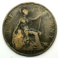 1919 H GREAT BRITAIN  GEORGE V   ONE PENNY BRONZE COIN  KM 810 .
