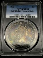 1802 $1 DRAPED BUST DOLLAR PCGS EXTRA FINE 45  TONED  US COIN B-6 BB-241 NARROW DATE