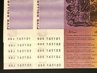 2 X IDENTICAL RUNS OF 5 X $5 NOTES    SAME NUMBERS    CONSEC