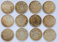 LOT OF 12 CANADIAN SILVER HALF DOLLARS   50 CENT COINS   80