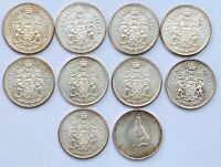 LOT OF 10 CANADIAN SILVER HALF DOLLARS   50 CENT COINS   80