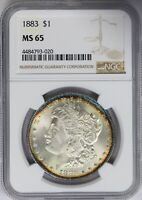 1883-P NGC SILVER MORGAN DOLLAR MINT STATE 65 MINT STATE UNC ELECTRIC BLUE RIM TONED
