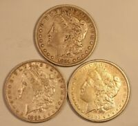 3 MORGAN SILVER DOLLARS, EXTRA FINE , DIFFERENT MINTS/ DATES, 1881-S, 1882-O, & 1883