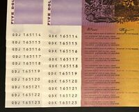 2 X IDENTICAL RUNS OF 10 X $5 NOTES    SAME NUMBERS    CONSE