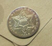 SHARP HIGH GRADE 1858 3 CENT SILVER  MUCH BETTER DATE