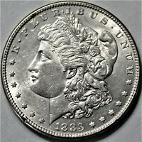 1883 PL MORGAN DOLLAR, BRILLIANT BLAST WHITE EXCELLENT CONDITION - UNCIRCULATED
