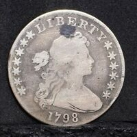1798 BUST DOLLAR - LARGE EAGLE, POINTED 9 - VG DETAILS 29745