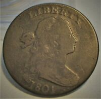 1801 DRAPED BUST LARGE CENT   F     US COIN.