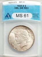 1925-S ANACS MINT STATE 61 DDR DBL DIE REV PEACE SILVER DOLLAR BU VARIETY VAM-2 BETTER DT