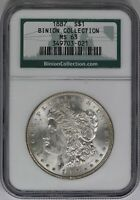 1887-P NGC SILVER MORGAN DOLLAR MINT STATE 63 BINION HOARD COLLECTION MINT STATE