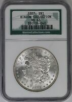 1887-P NGC SILVER MORGAN DOLLAR MINT STATE 63 BINION HOARD COLLECTION MINT STATE UNC