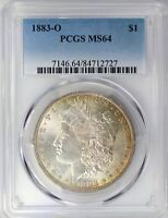 1883-O PCGS SILVER MORGAN DOLLAR MINT STATE 64 DOUBLE SIDED GOLD HUE TONED