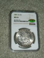 1881-CC  MORGAN SILVER DOLLAR NGC MINT STATE 63  CAC GREEN STICKER, LOW MINTAGE 296,000