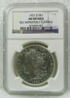 1921 MORGAN SILVER DOLLAR $1 NGC UNC DETAILS IMPROPERLY CLEANED
