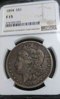 1894-P MORGAN SILVER DOLLAR GRADED F-15 BY NGC SUPER  DATE MINTAGE 110,000