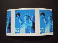 3477 34C STATUE OF LIBERTY  EFO MISPERFORATED DIECUT PAIR MNH OG VF