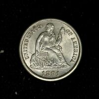 1891-S 10C SEATED LIBERTY SILVER DIME HIGH GRADE FROSTY LUSTER