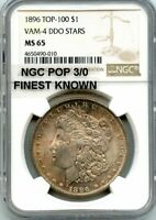 C11360- 1896 VAM-4 DDO STARS TOP 100 MORGAN NGC MINT STATE 65 - NGC POP 3/0 FINEST KNOWN