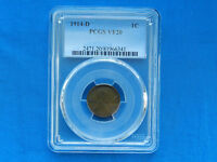 1914-D LINCOLN WHEAT CENT CENT COIN PCGS VF20