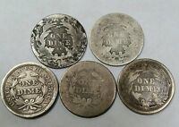 LOT OF 5 SEATED LIBERTY DIMES 1839 - 1856 - 1875 CC - 1888- 1888 S. BETTER DATES