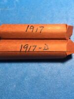 LOT OF 2 SOLID DATE ROLLS LINCOLN WHEAT CENTS PENNIES 1917-1917D