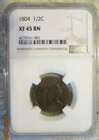 1804 DRAPED BUST HALF CENT PLAIN 4 STEMLESS WREATH NGC XF 45