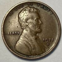 1  FINE LOW MINTAGE 1911 S LINCOLN WHEAT CENT
