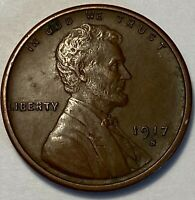 1 ABOUT UNCIRCULATED LOW MINTAGE 1917 S LINCOLN WHEAT CENT