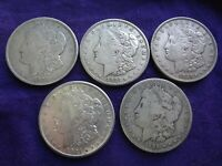 LOT 5 MORGAN SILVER DOLLAR $1 COIN 90 SILVER BULLION 1889-O 1921-D 1921-S