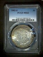 1882-S MORGAN PCGS MINT STATE 63 CRESCENT TONED SILVER DOLLAR