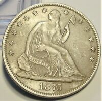 1875 SEATED LIBERTY HALF DOLLAR 50C UNCIRCULATED DETAILS CLE