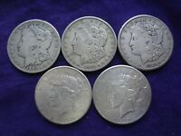 LOT 5 MORGAN SILVER DOLLAR $1 COIN 90 SILVER BULLION 1901-O 1921-S 1926 PEACE