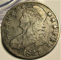 1827/6 CAPPED BUST HALF DOLLAR 50C   VF     US COIN.