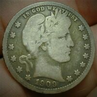 1909 O KEY DATE BARBER SILVER QUARTER IN A NICE VG CONDITION
