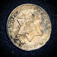 1851 THREE CENT SILVER TRIME