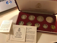 BAHAMAS 1984 PROOF SET COINS BOX AND COA