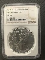 2017 S $1 SILVER EAGLE NGC MS69  SPOT FREE & NO RESERVE