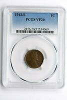 1912-S 1C LINCOLN WHEAT CENT, PCGS VF 20 WITTER COIN
