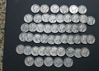 ONE ROLL MERCURY DIMES 50 COIN LOT $5 FACE JUNK 1917 1945