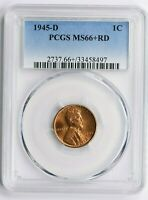 1945-D 1 C, LINCOLN WHEAT CENT PCGS MINT STATE 66 RD WITTER COIN