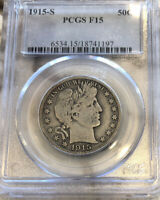 1915 S BARBER HALF PCGS CERTIFIED F15 FREE SHIPPING NO RESER