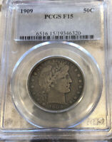 1909 BARBER HALF PCGS CERTIFIED F15 FREE SHIPPING NO RESERVE