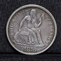 1876-CC SEATED LIBERTY DIME - CH EXTRA FINE  DETAILS 30508